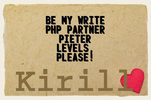 Be My Write Php Partner Pieter Levels, Please!